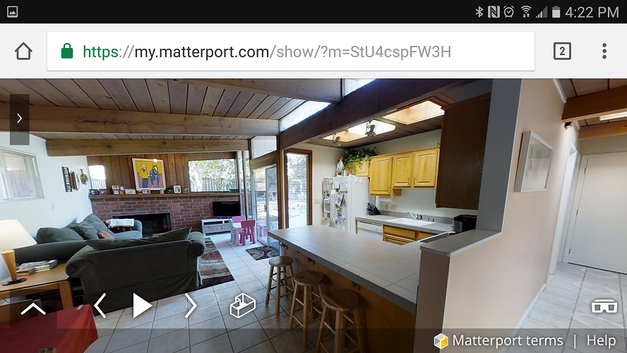 Screen Grab: Matterport Spaces 3D Tour Viewed on a Smartphone (Horizontal)