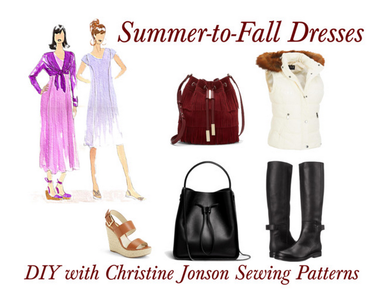 DIY Summer to fall transition dress, fit and flare dress sewing pattern