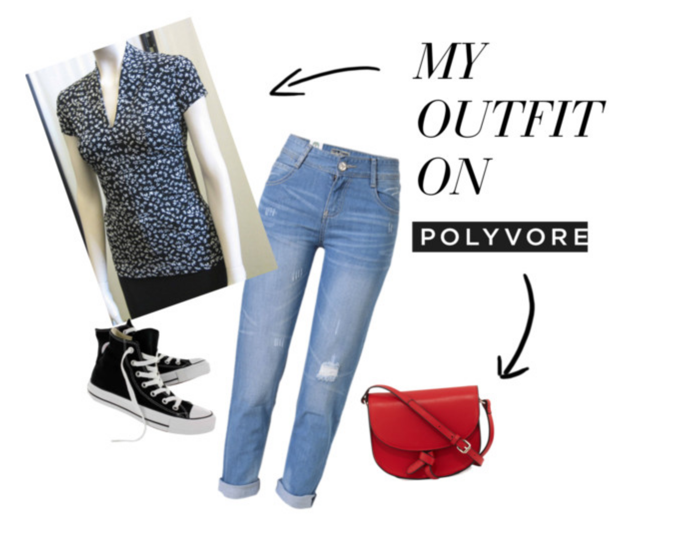 From left, a cap sleeve floral print Vee neck tee with boyfriend jeans, Converse sneakers and a bright red saddle bag