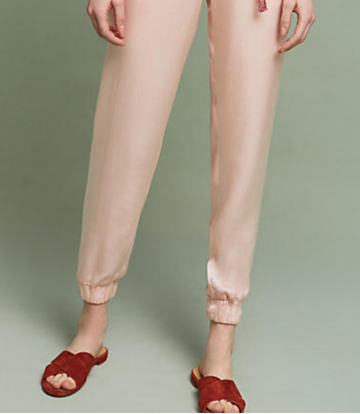 """Jumpsuit cuffs - for the skinny-leg version, turn under the hem 1.5"""" and stitch, leaving an opening to insert elastic. Measure elastic around your ankle loosely, insert, stitch closed."""