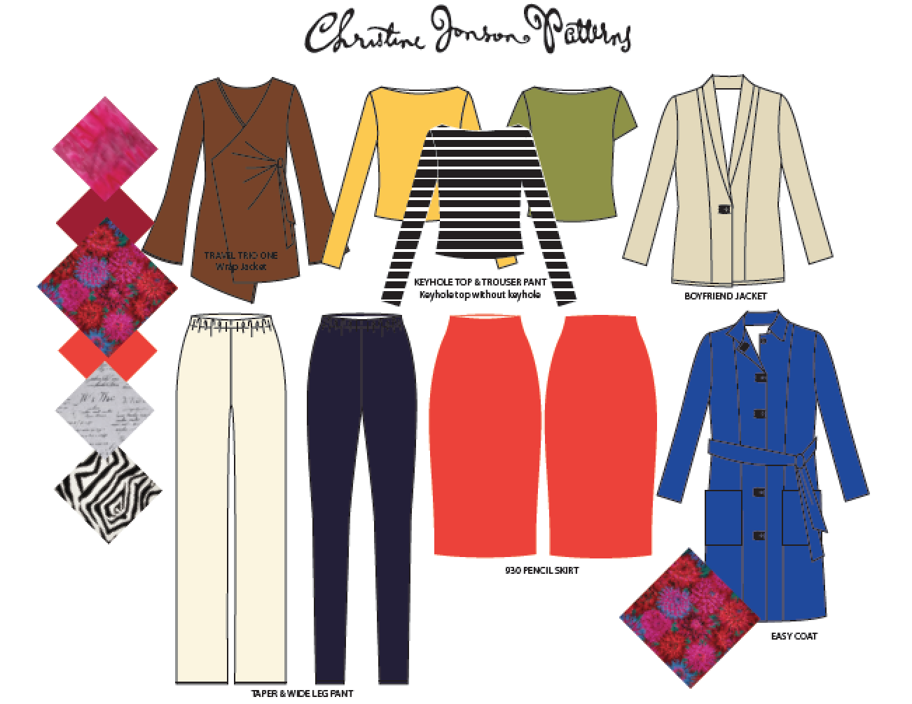 A sample Christine Jonson Patterns wardrobe consists of basics that work for your lifestyle, and are easy to sew and comfortable to wear.  From top left the Drape Front Jacket (Travel Trio One), the Keyhole Top,  the Boyfriend Jacket, the Taper & Wide Leg Pant, The Pencil Skirt and the Easy Coat.