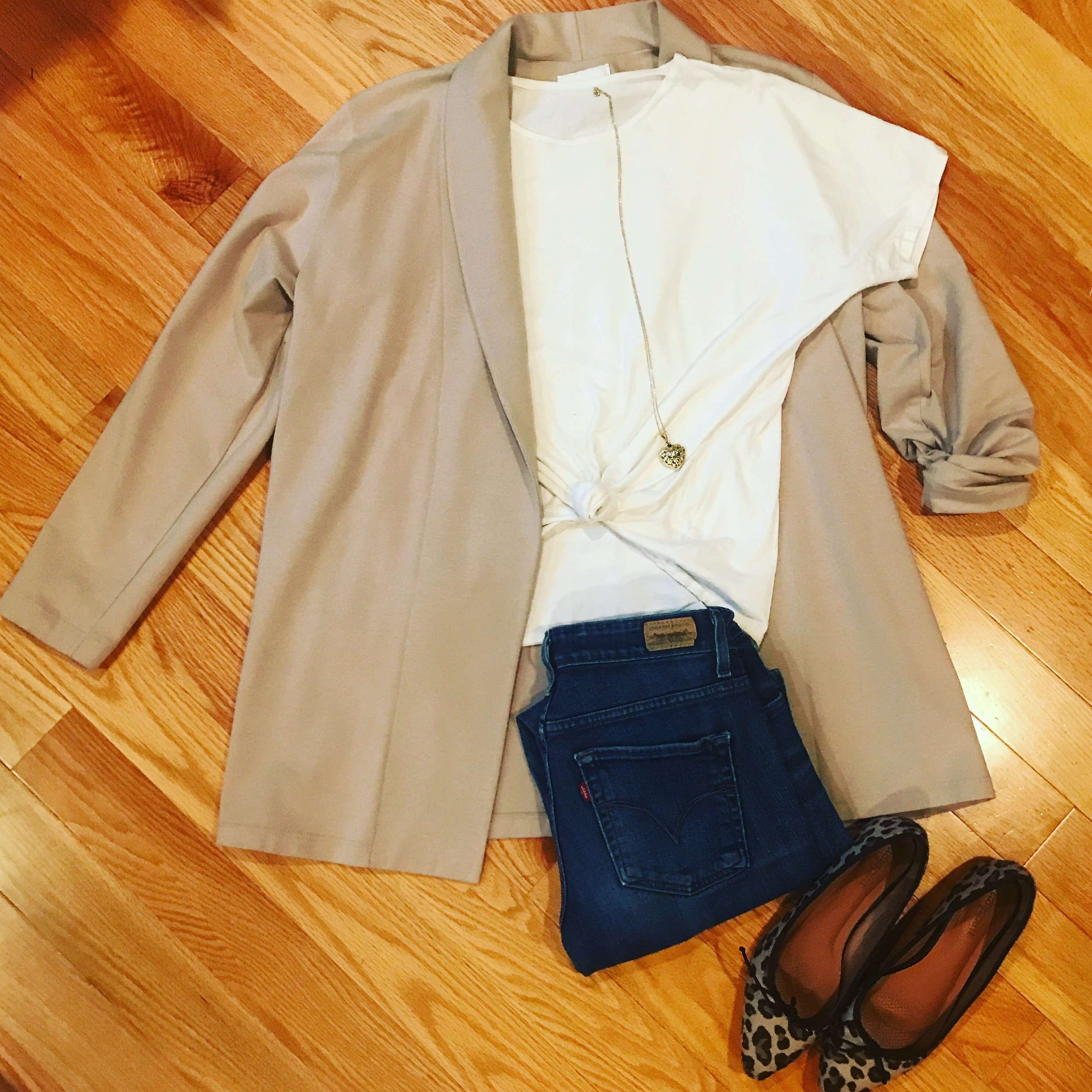 The Boyfriend Jacket shown here with Three Tees (cap sleeve tee version, knotted), your favorite jeans and flats.