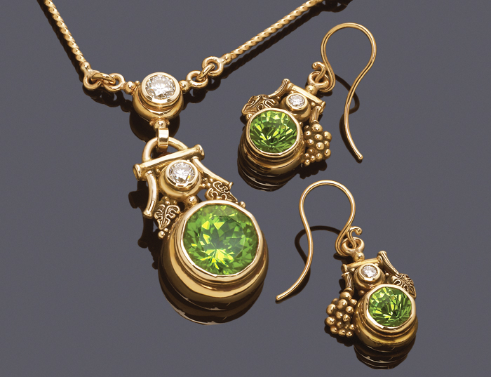 Custom grape leaf pendant & earrings with rose cut peridot & diamonds.