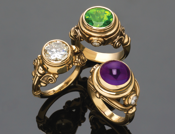 Custom & modified rings diamond, peridot & amethyst.
