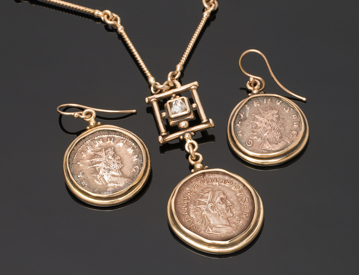 Custom pendant & earrings with Roman coins & rough cut diamond.