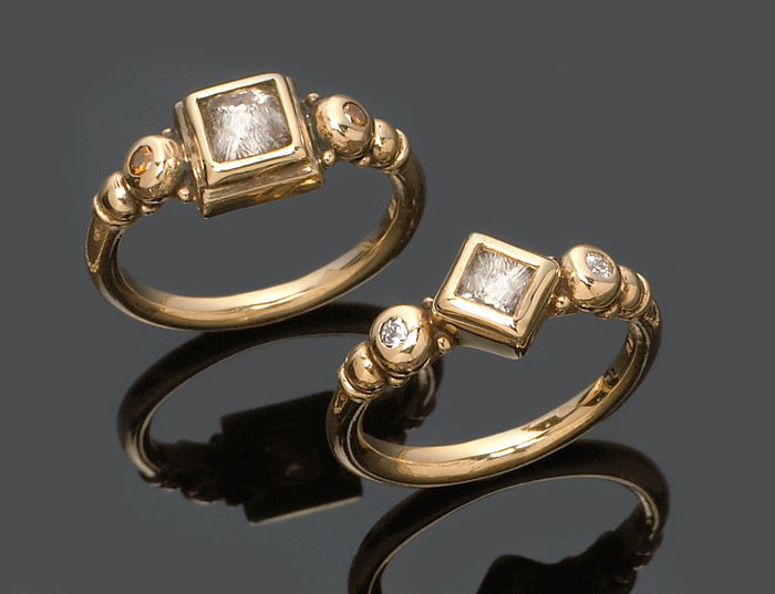 Custom rings featuring rough cut diamonds, white diamonds & cognac diamonds.