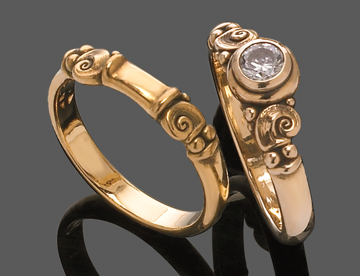 1685, 1685b Tucson engagement ring & matching wedding band