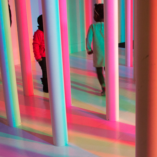 Detail:   Prism Palace  , 2014  PVC, red, green and blue lights