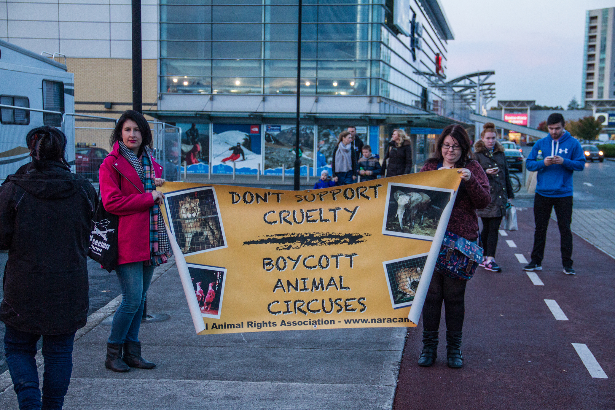 Animal rights protestors outside the circus