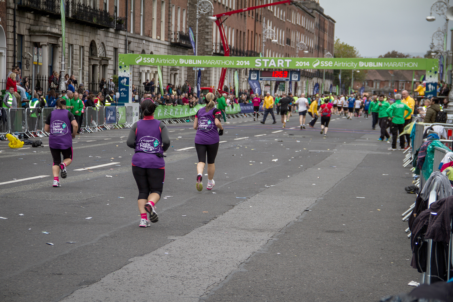 Runners approach the start line of the Dublin city marathon