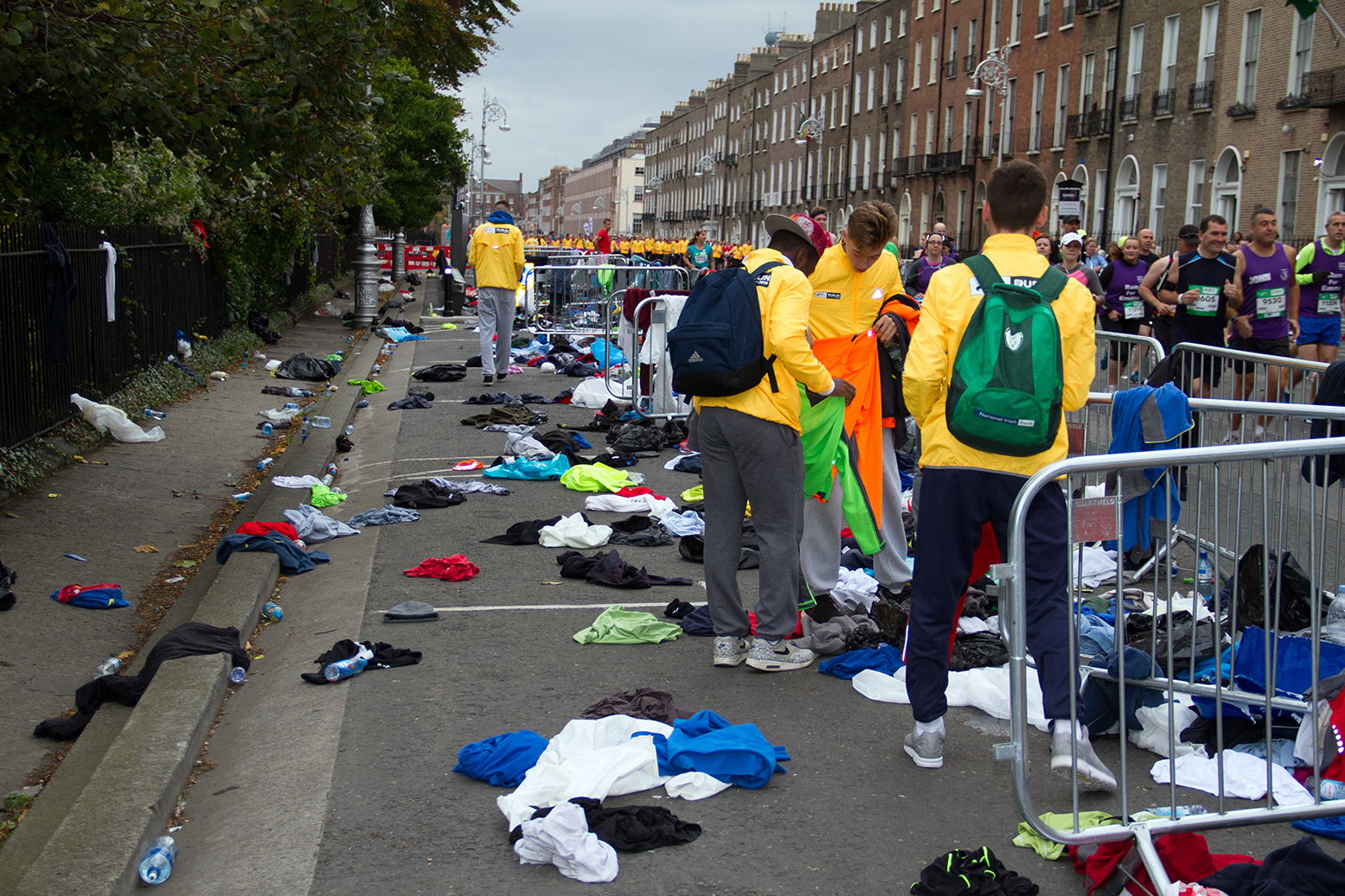 Discarded jumpers at the start line of the Dublin City marathon