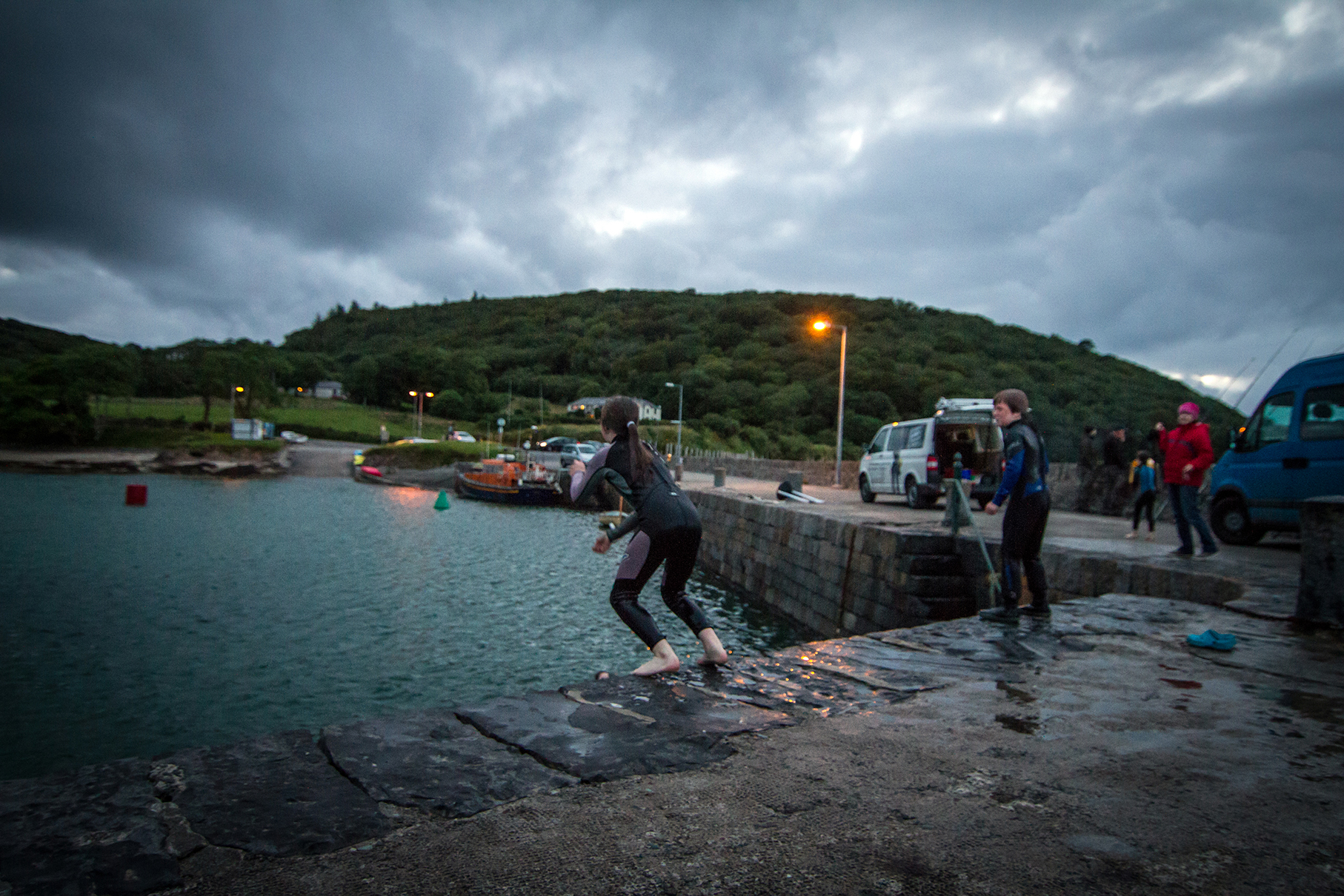Jumping off the pier at Oldhead County Mayo