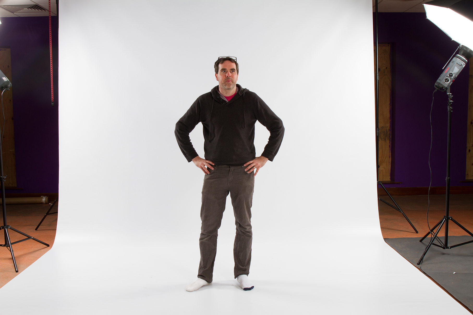 Here's me standing on the white screen for a test shot