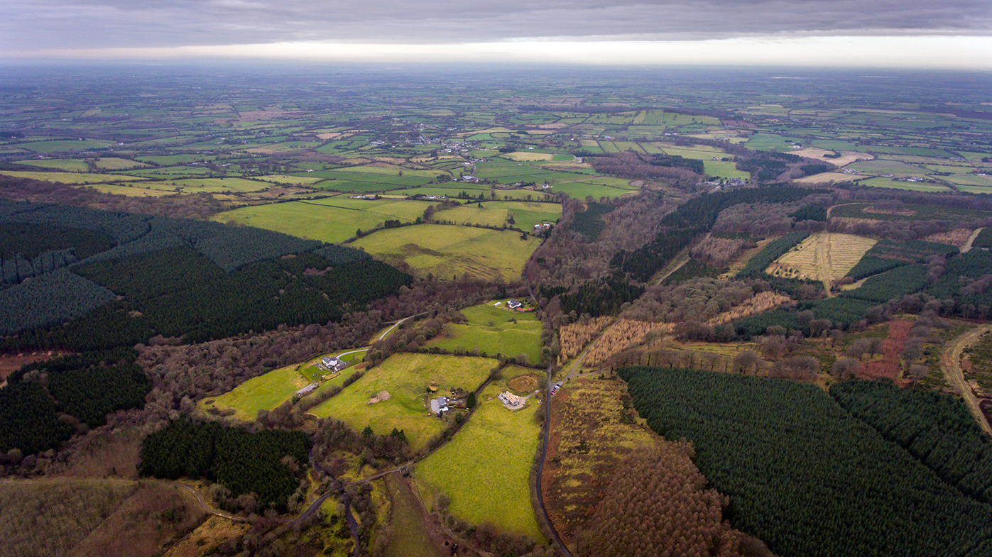 The R440 (bottom middle) with the village of Kinnitty in the background