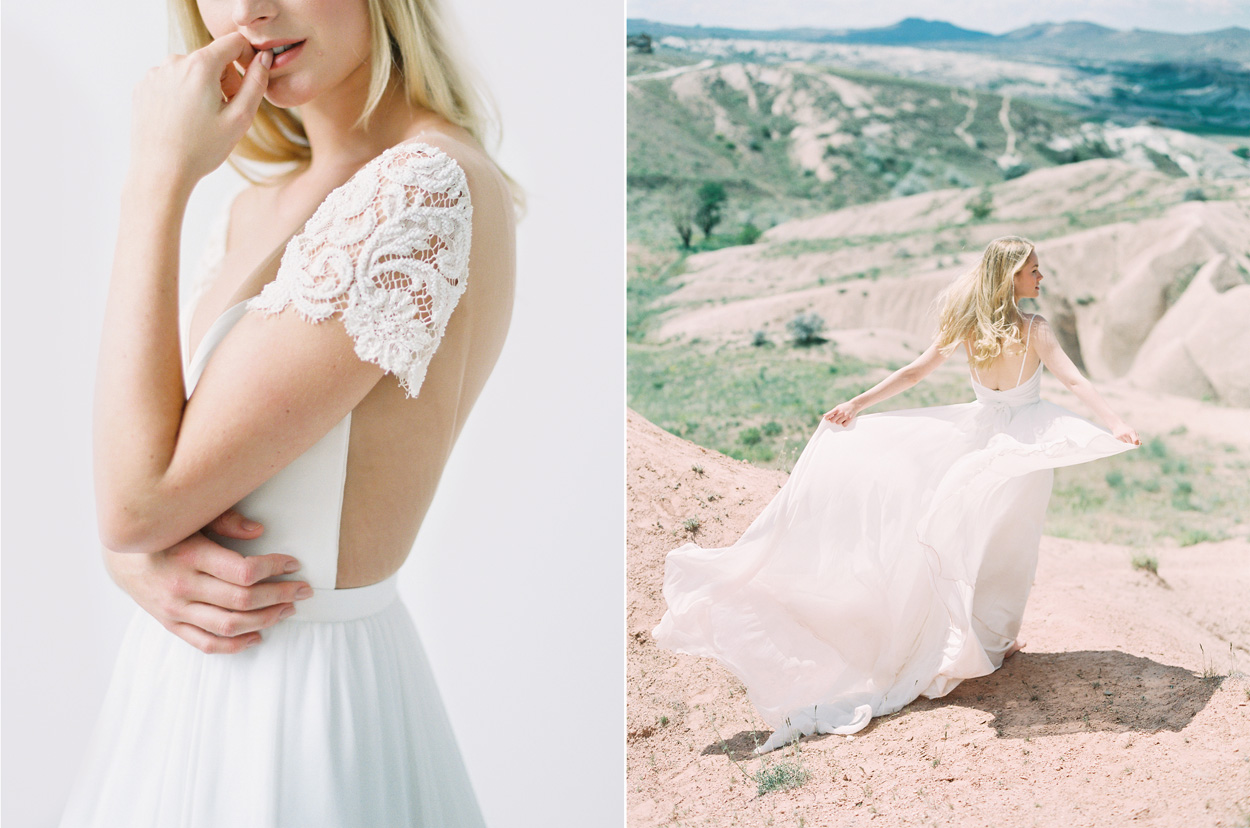 Left: Truvelle Mary Dress / Right: Truvelle Kim Dress / Photo: Blush Wedding Photography