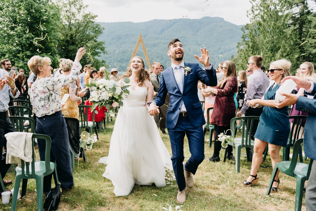 Bride and groom celebrating after their wedding ceremony
