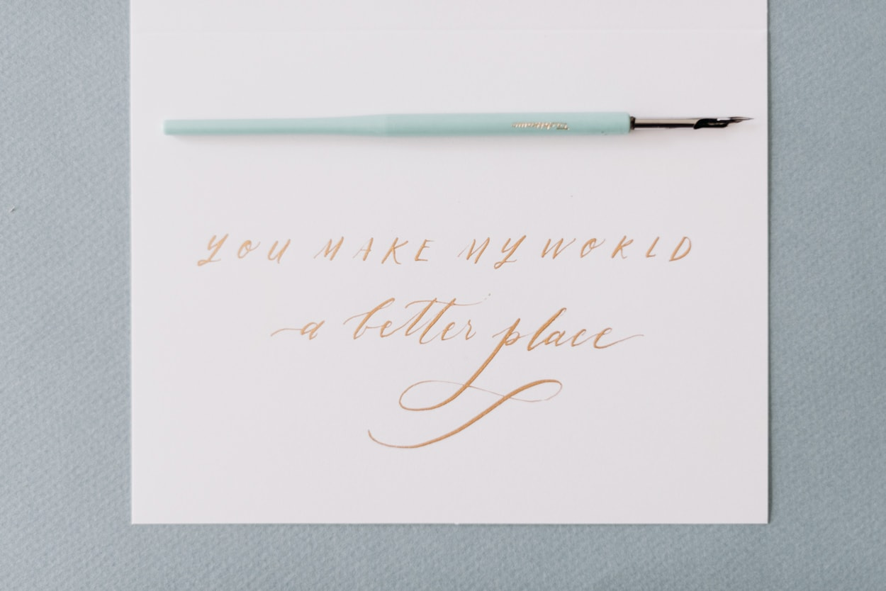 Calligraphy pen and card
