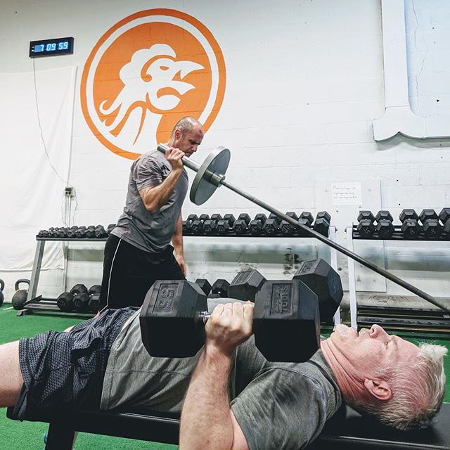 There's more than one way to press! More specifically, there's more than one angle. We like to hit horizontal (dumbbell or barbell bench press) AND vertical (like an overhead kettlebell press or a landmine press, depending on shoulder mobility). #rctftribe