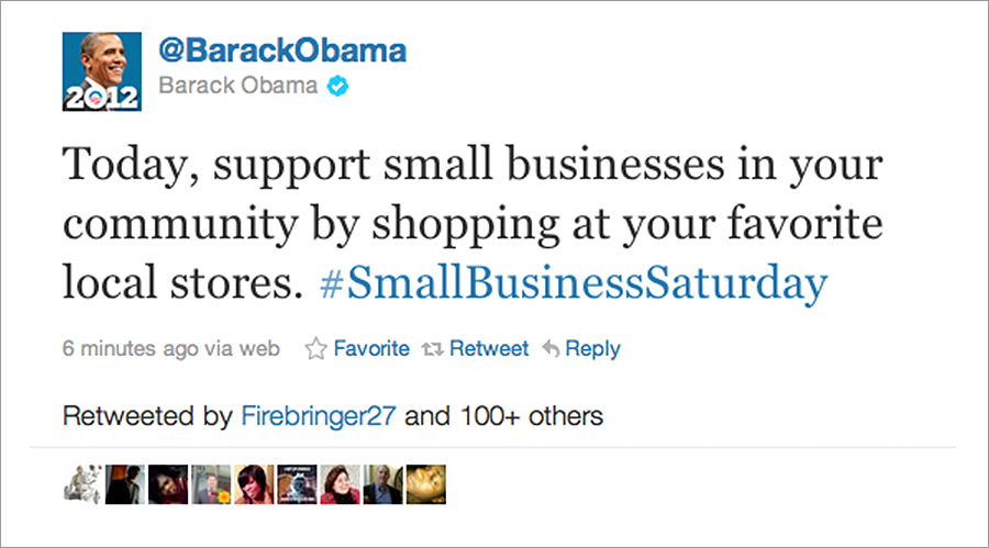 OBAMA tweeted about Small Business Saturday!