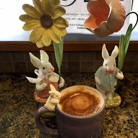 Celebrate #Easter with a Lavender Vanilla #Mocha at The Black Cup #organic #vegan #conscience #FairTrade #sustainable #ecofriendly #coffee #noGMO #CollegePlace