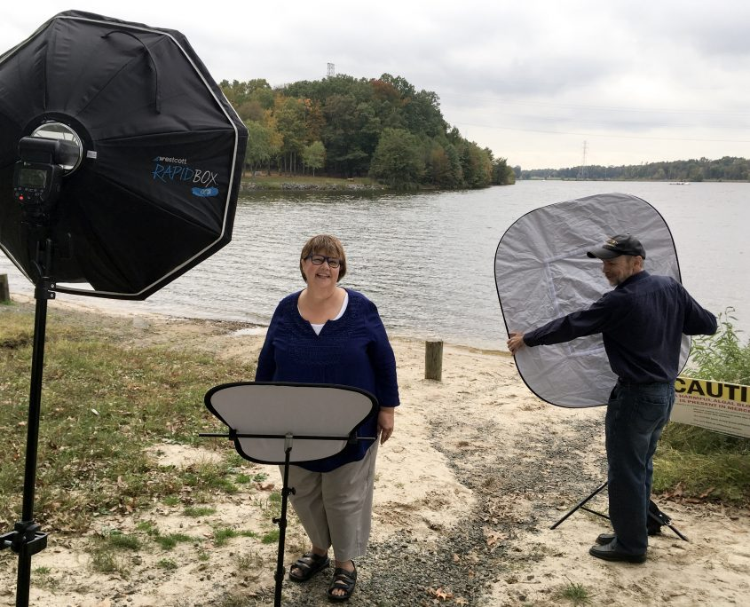 Behind the scenes of photoshoot for Outdoor On Location Business Portrait Deirdre Ryan Photography for Advocate for Mom and Dad