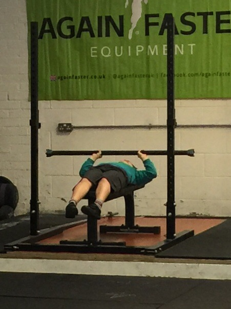 EJ getting some early morning bench in