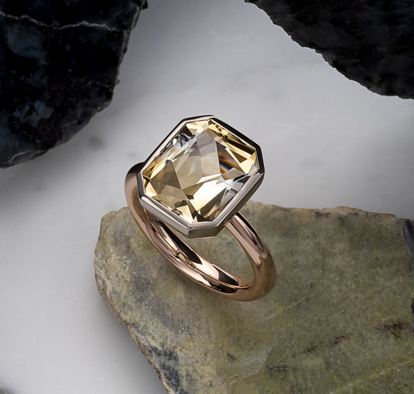 Māyā Ring   Bi-colour citrine (6 carats) from Bolivia set in 18k white and rose gold   Inspired by poet/activist Maya Angelou and Māyā of Sakya (mother of Buddha).