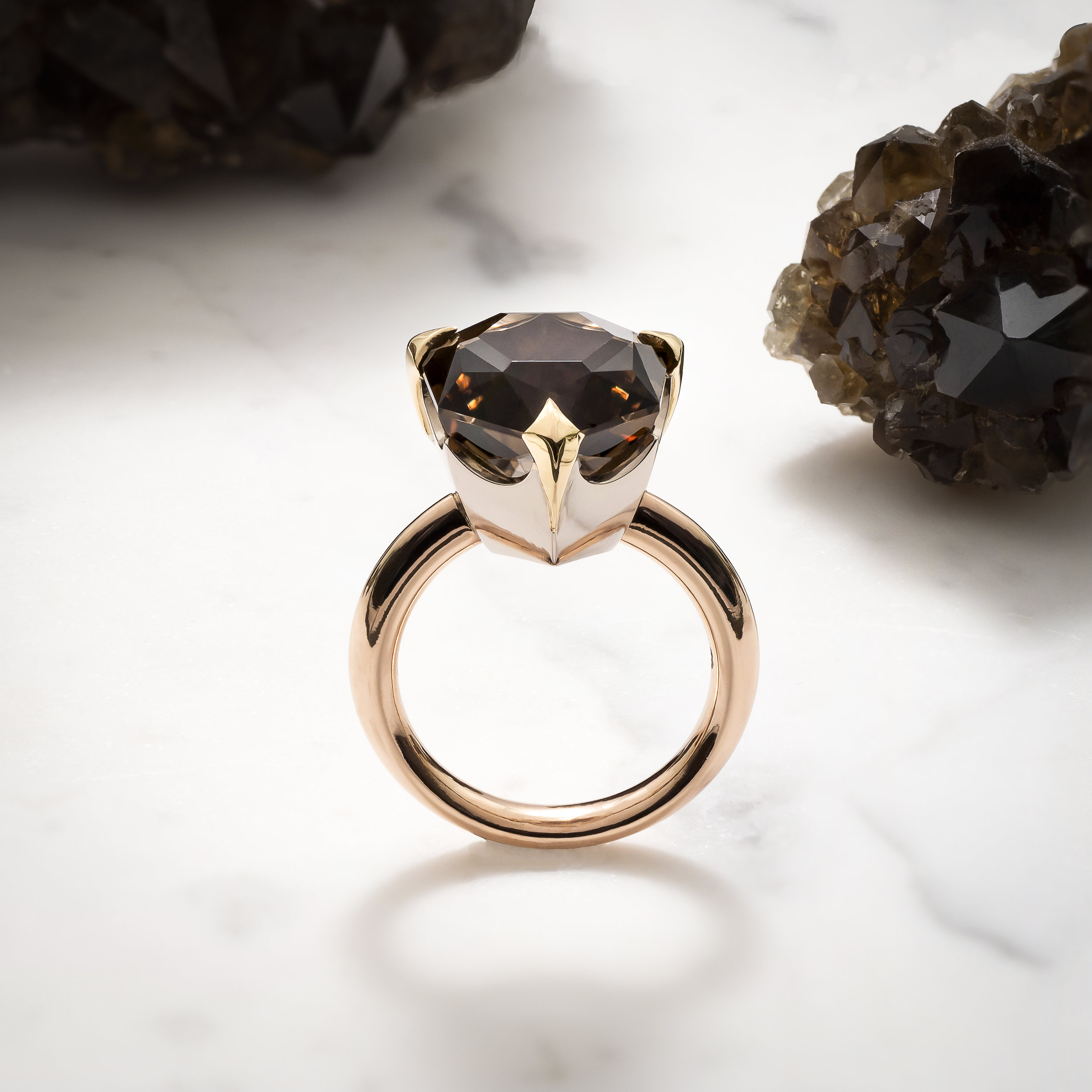 Shield thy Queen Ring   Smokey Quartz (8.60cts) from O'Briens Creek in Queensland set in 18k yellow, white and rose gold.   Inspired by my fellow badass warrior women.