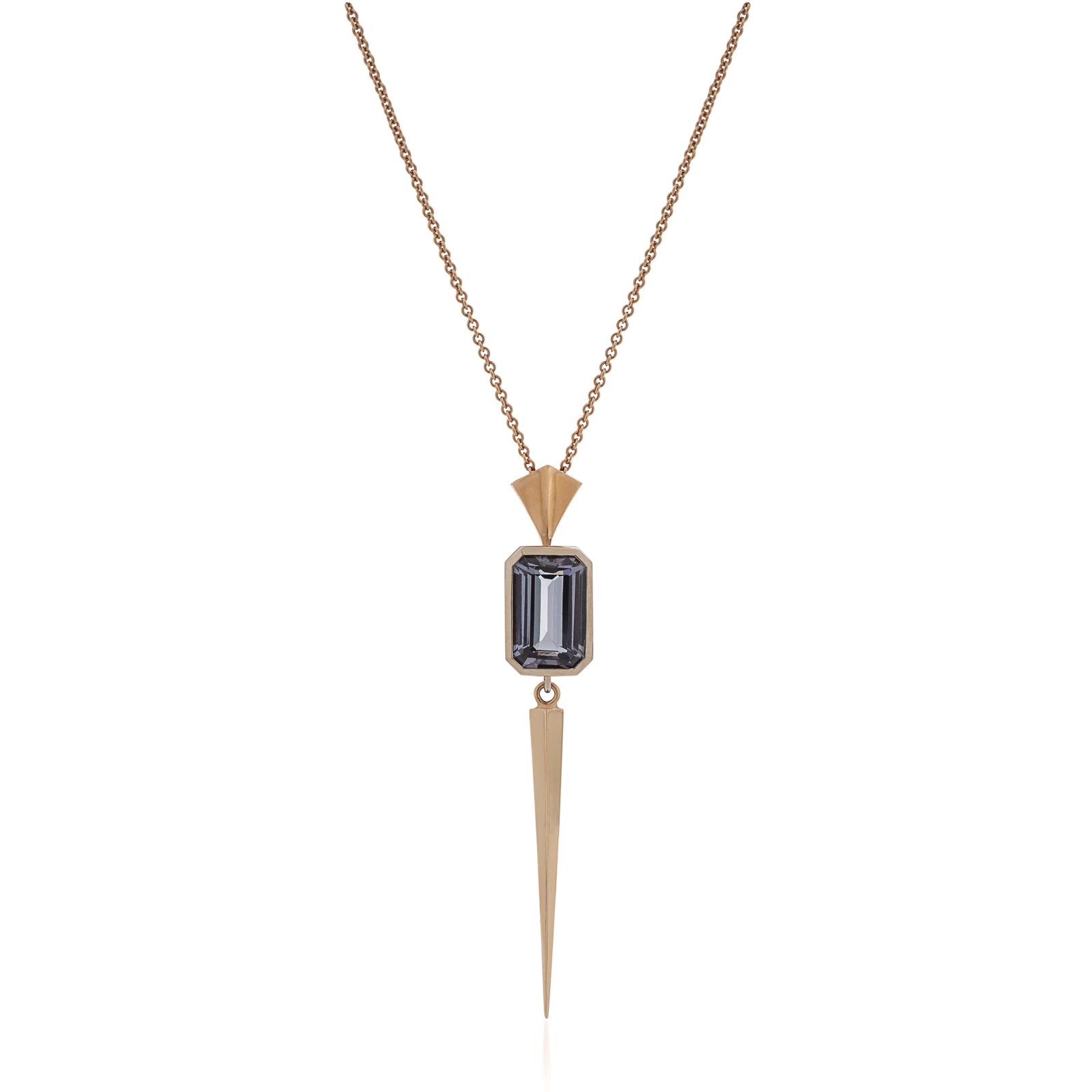 Fierce Beauty Pendant - Tanzanite (3.01ct) set with a solid tetrahedron tassel in 18k white and rose goldCreated for a badass warrior woman who is ready to use her sword of truth!