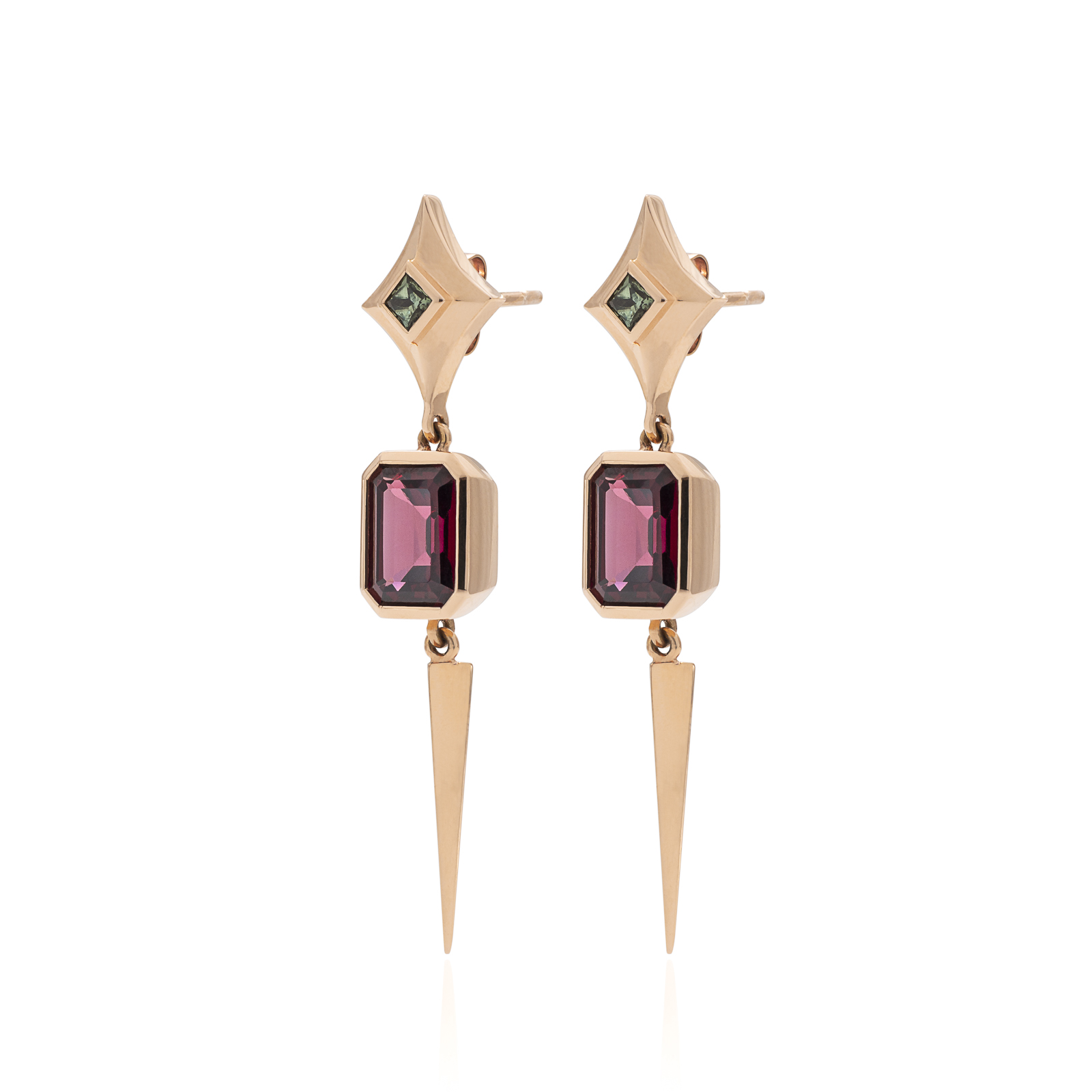 War Cry - Rhodolite garnets (5.55ct) from Mozimbique and Australian green sapphires set in 18k rose gold with tetrahedron tasselsThese earrings are a tribute to the battle cry of 'truth' that is chanted amongst my fellow badass warrior women.