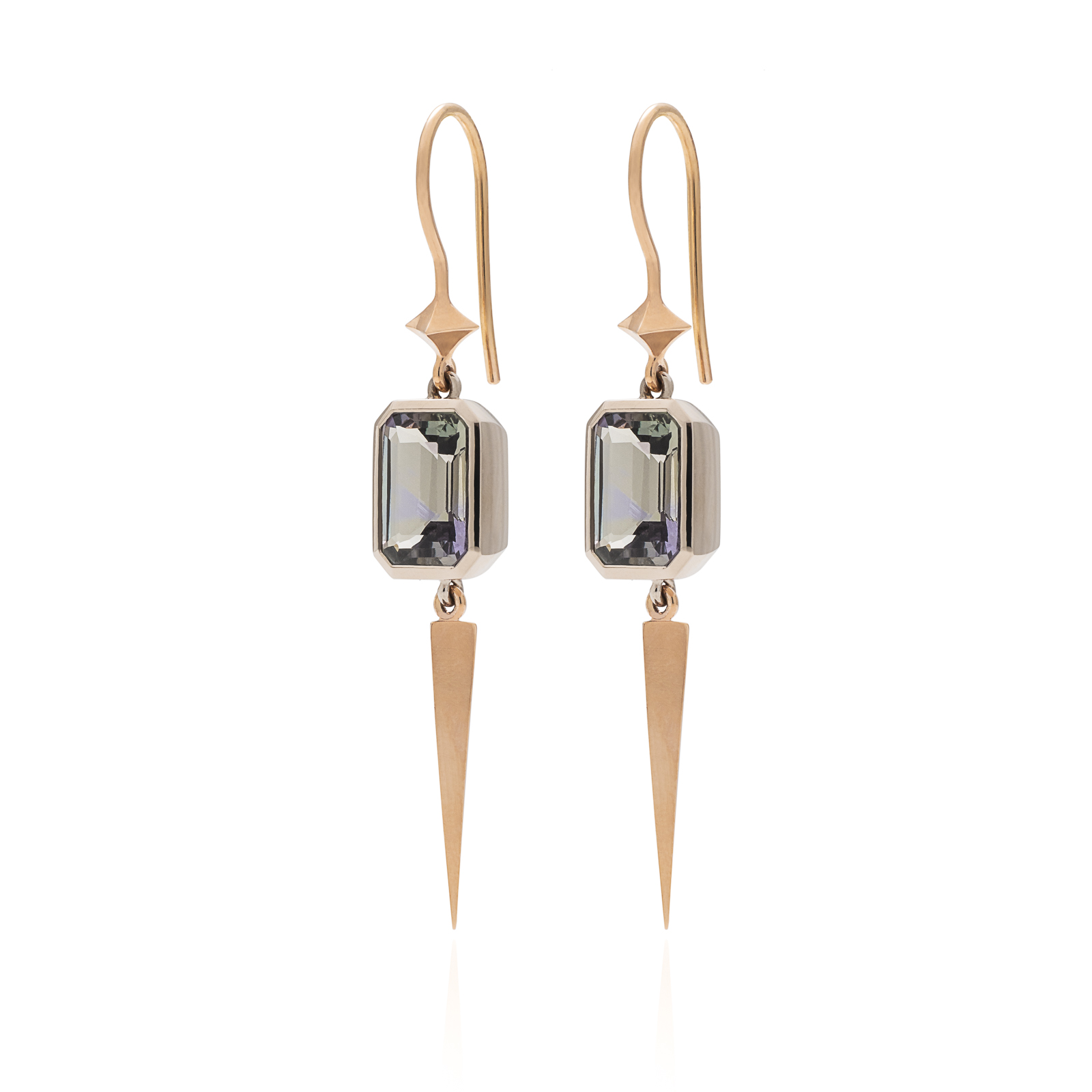 Sword of Truth - Natural coloured Tanzanites (5.35ct) set in 18k white and rose gold.These earrings have their very own sword tassels to cut through the things that don't serve you anymore.