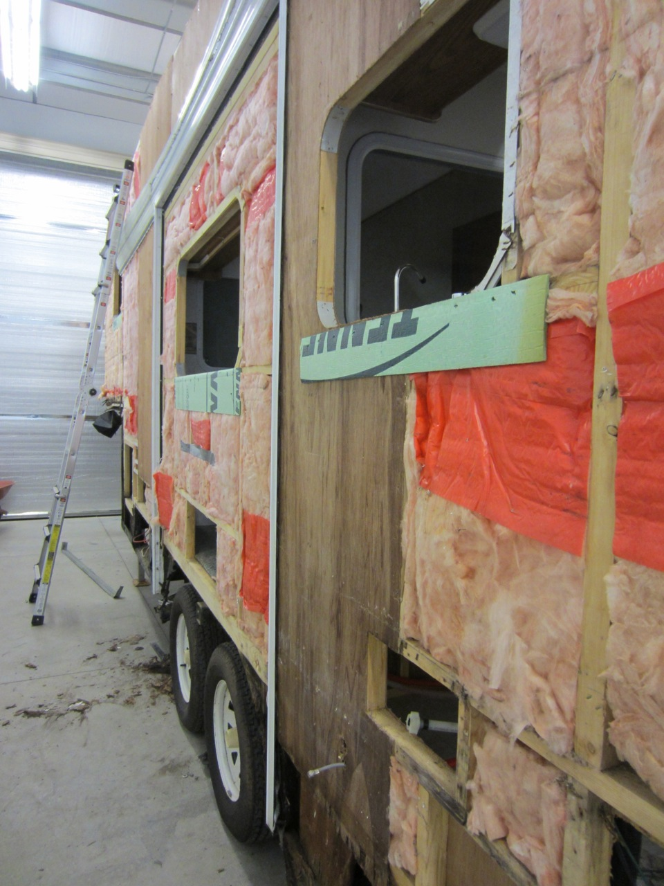 The original plan was the reuse the siding that we removed from the RV. But halfway through the teardown we realized that it would be hard to reuse it. The pieces of siding were deformed when removed and they weren't in the greatest condition to start with.