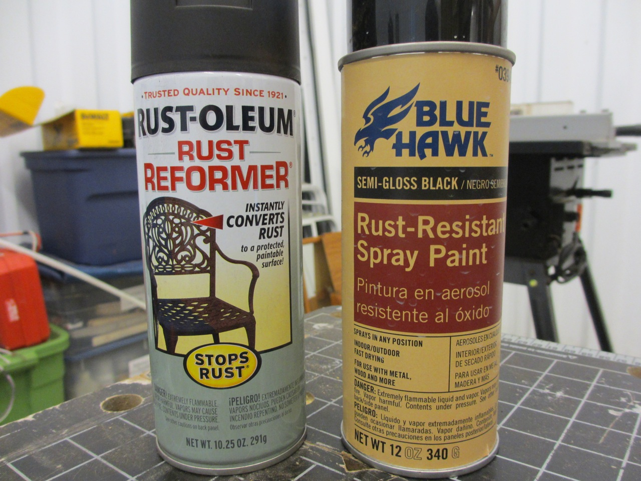 Once the rust was all removed, we first sprayed the chassis with Rust Reformer primer. The primer stops any additional rusting from any leftover rust that may still be on the metal. Once that dried (20 - 30 minutes), we used the Rust Resistant spray paint to prevent future rust from occurring (take 12 hours to dry). We sprayed two coats of each.