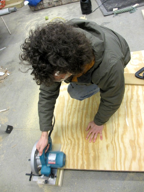 Jerud cutting out the new sub-floor.