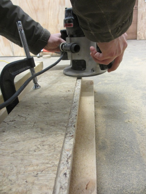 Jerud used a router to put a tongue in edge of the new sub-floor, he also put a groove on the other edge.