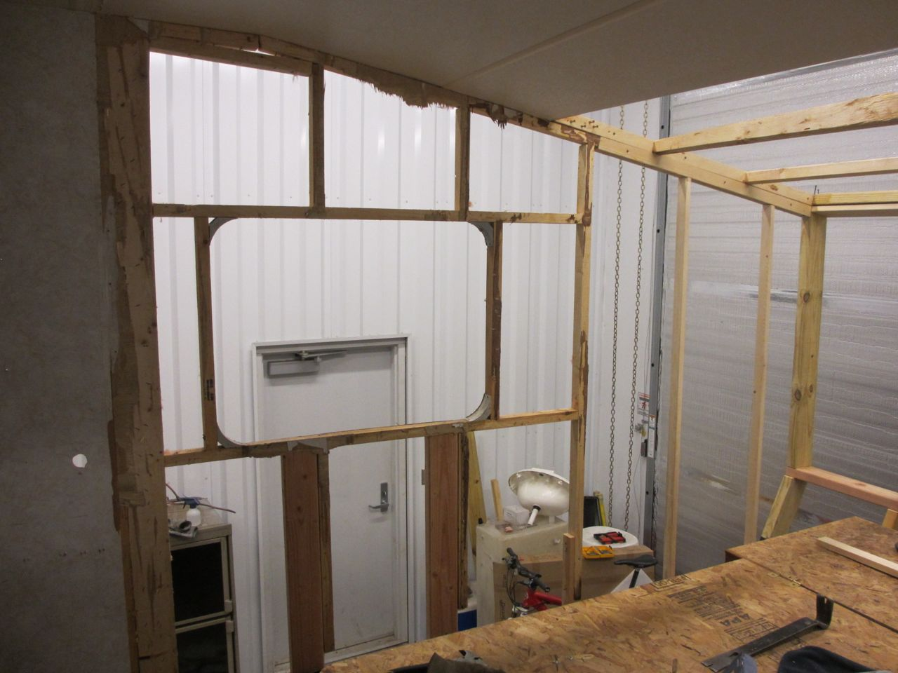 Inside view of the driver side bedroom wall.