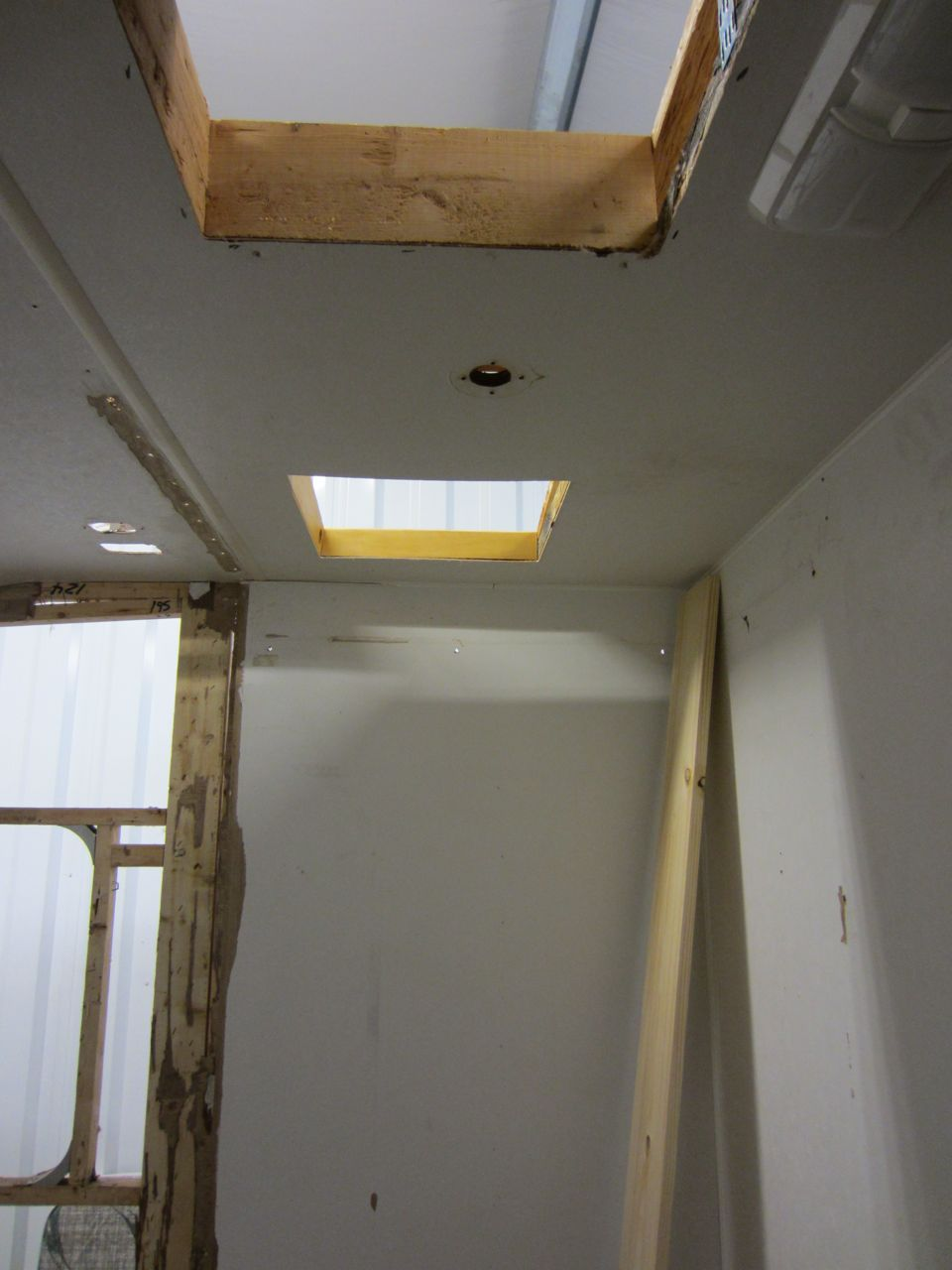 New hole above the shower for the vent.