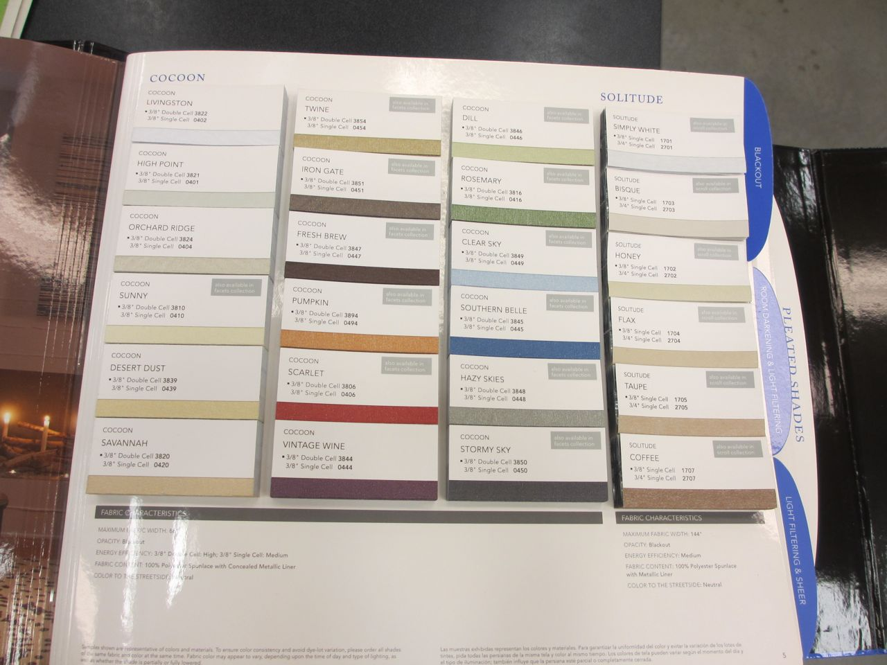 A huge sample book was handed to us with numerous colors and styles of cellular blinds to choose from!