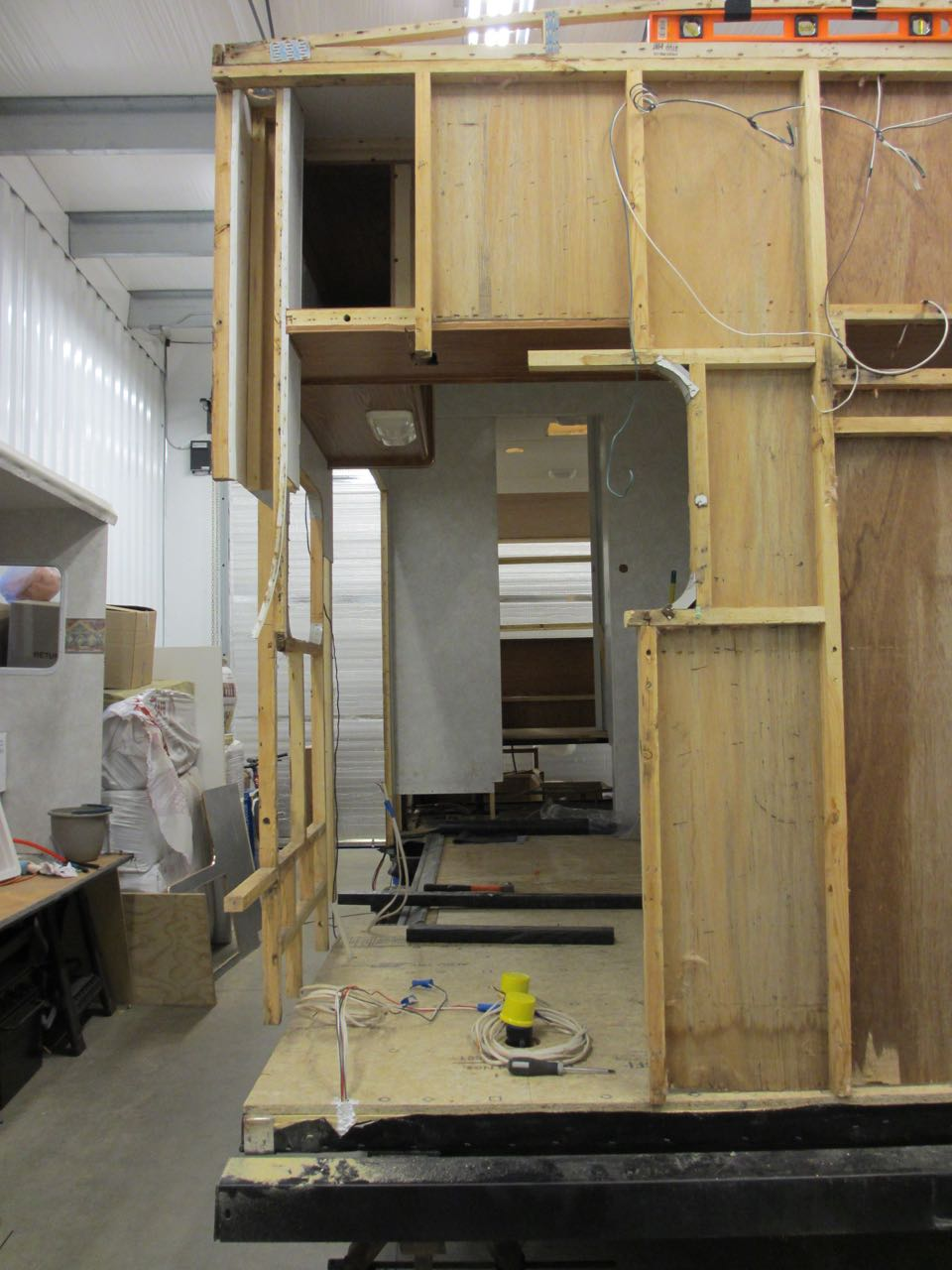 The most outer stud was removed and so were the beams for the kitchen window.