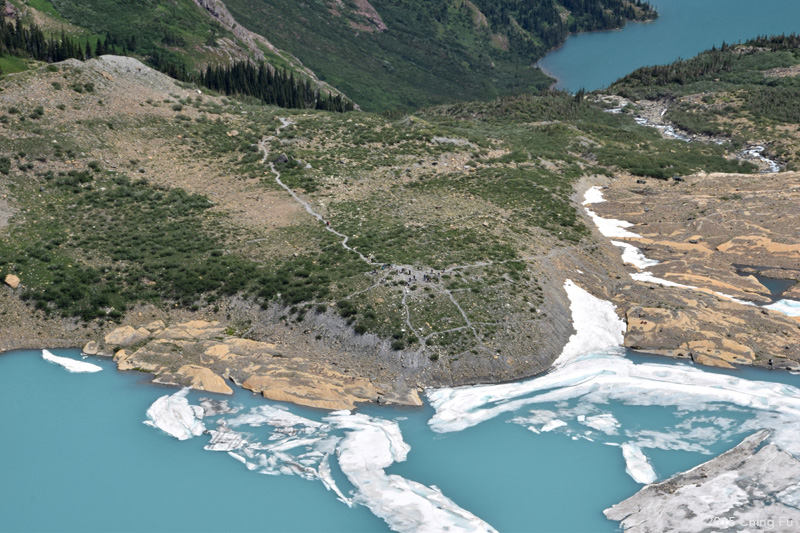 View of Grinnell Glacier trail from above.