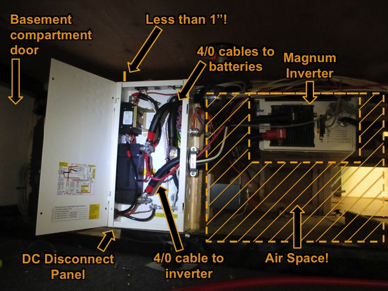 MNDC dc disconnect box and magnum inverter, cabled up.