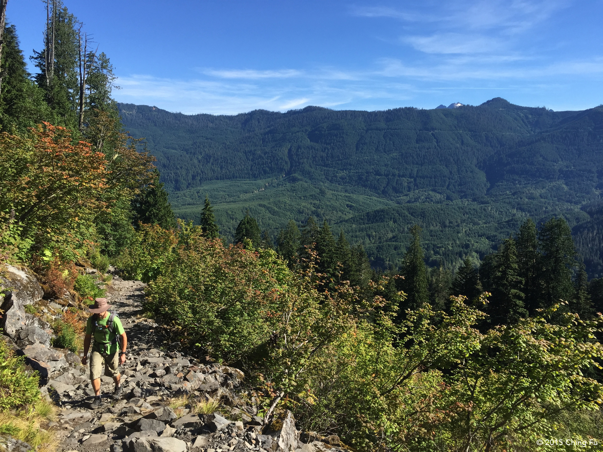 Hiking up the last talus portion of the trail.