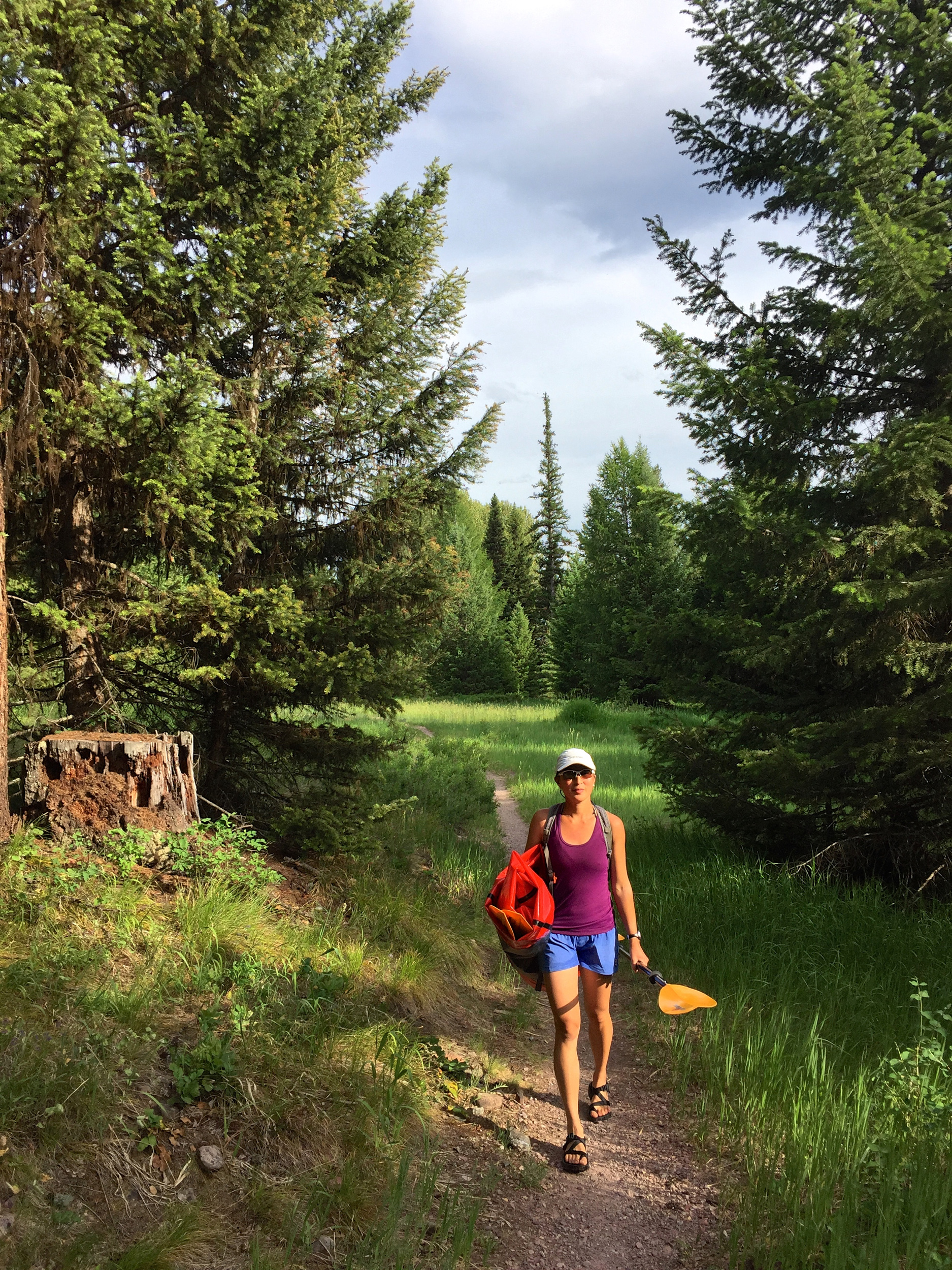 The start of our hike back to the car with the packraft in hand.