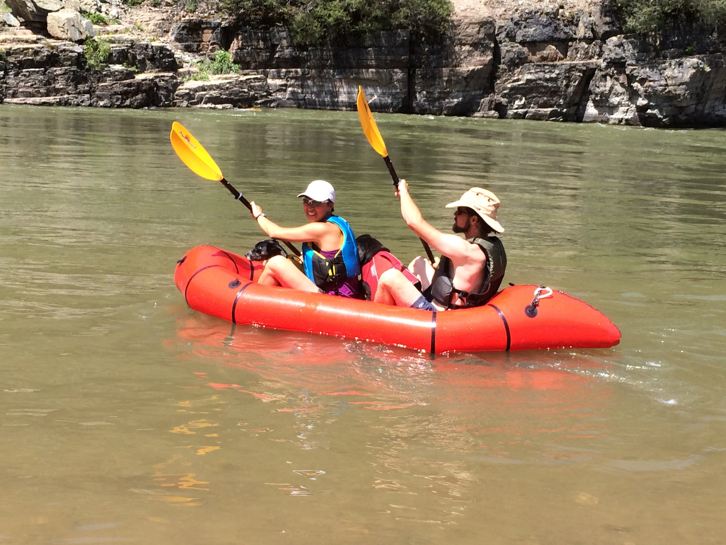 The four of us really do fit in the Alapacka Raft. Photo by Barbara.