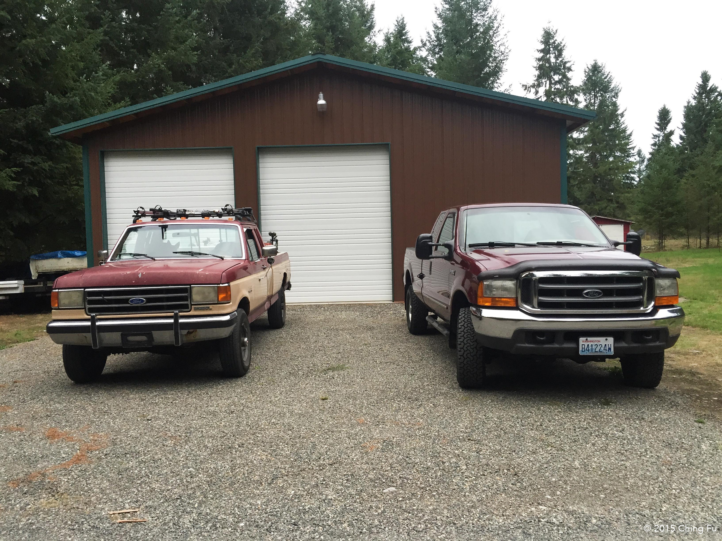 "Our ""poor old truck"", as I lovingly refer to it, next to our new truck."