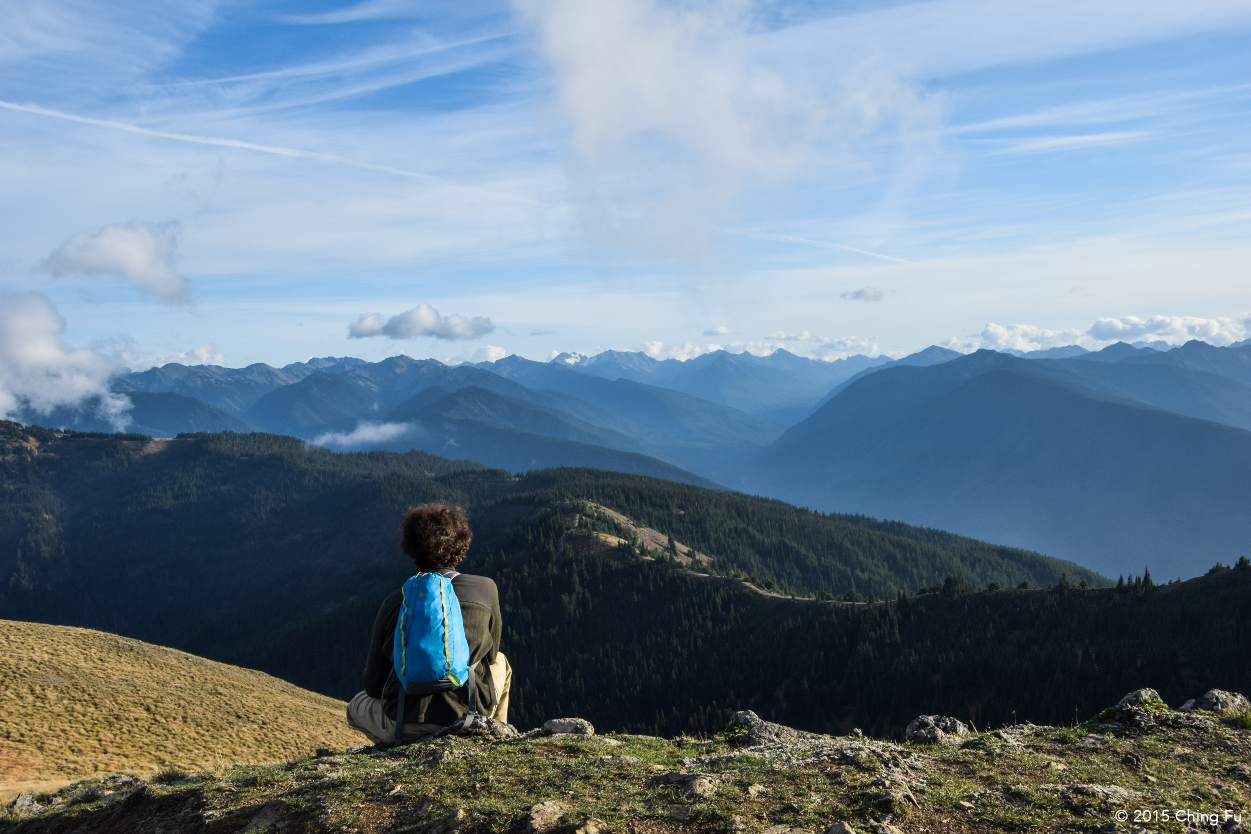 Jerud looking at the Olympic mountains.