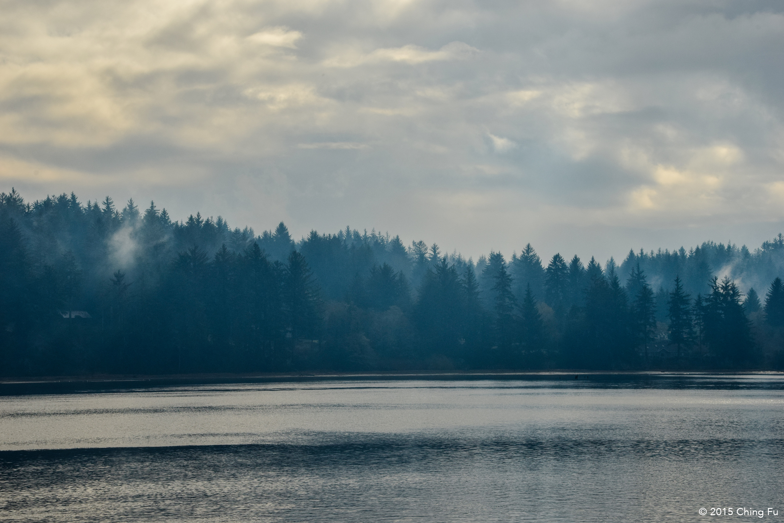 Smoky view of the Siuslaw River.