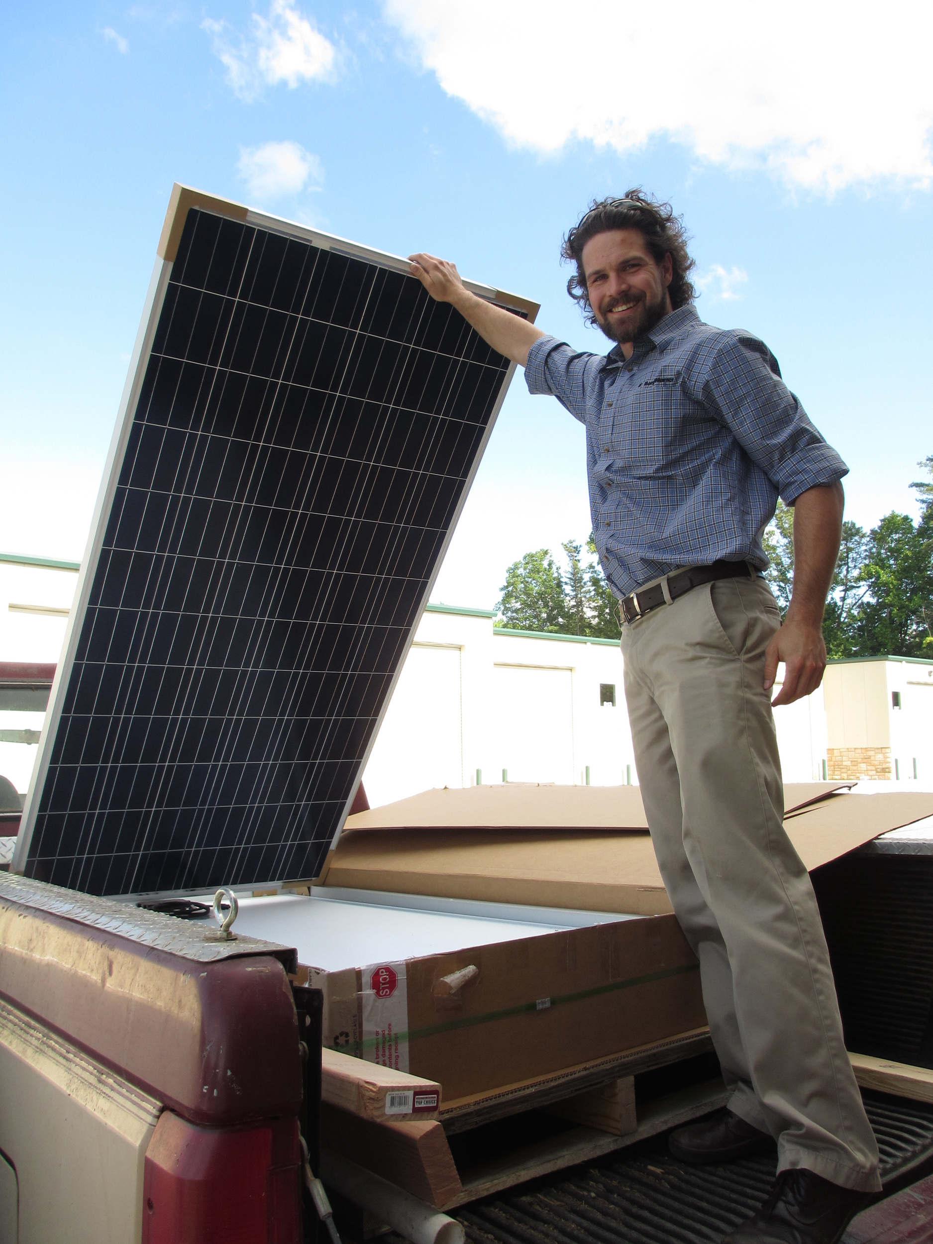 The day our solar panels arrived during our rebuild.