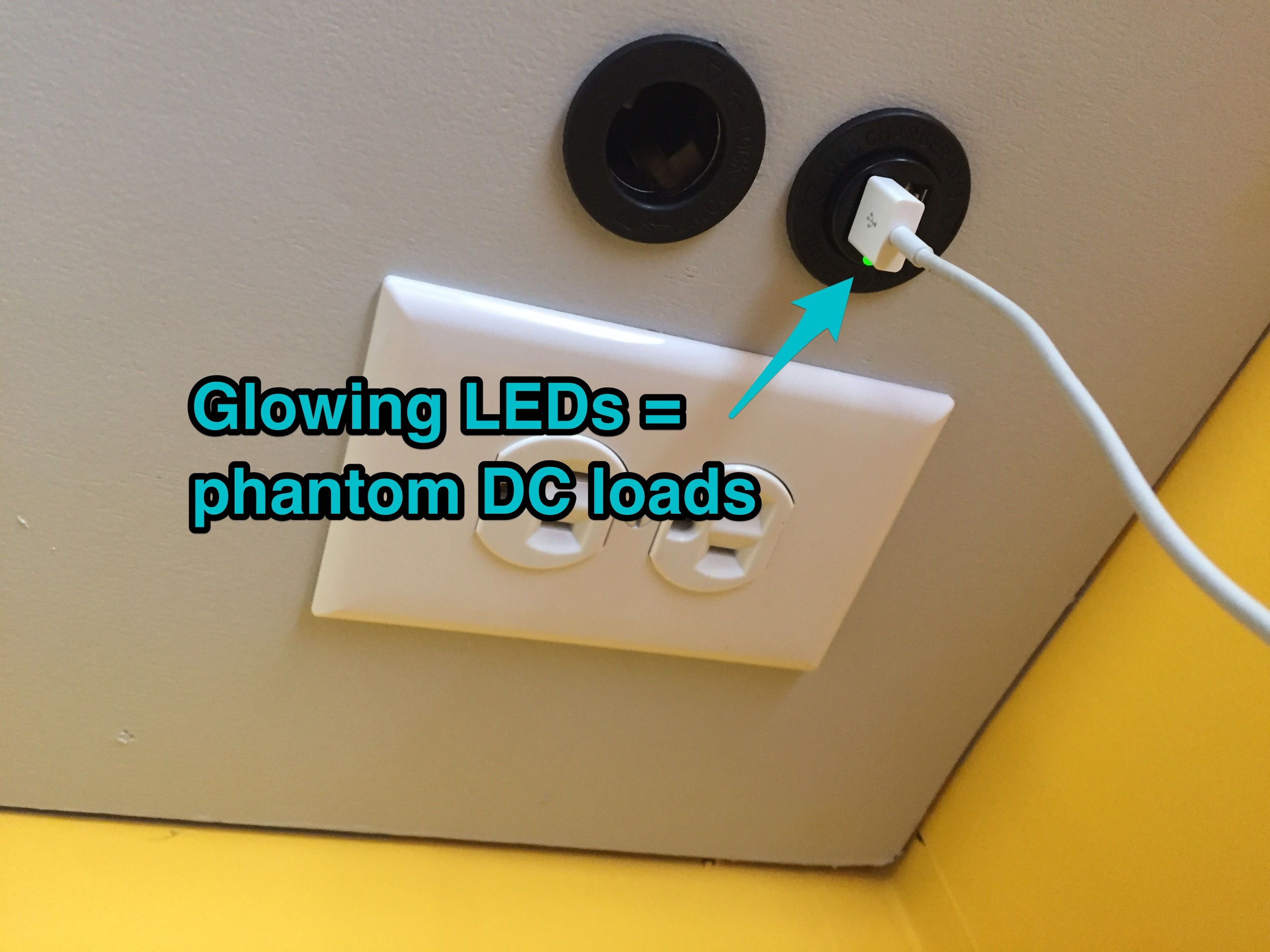 Phantom loads can be AC or DC. Glowing LEDs are sure indicators of phantoms. This DC receptacle's light is such a tiny load though, that it's not worth worrying over.