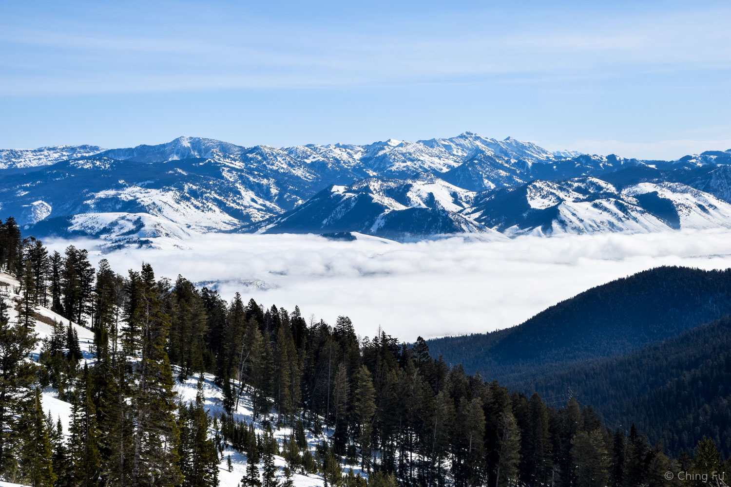 Looking down from Teton Pass.